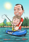 digital_caricature_father_son_fishing_cartoon