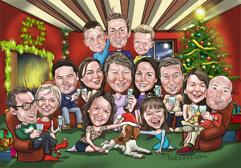 Christmas Family Cartoon Portrait And Caricature Picture